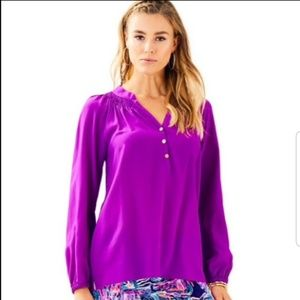 NWT Lilly Pulitzer Elsa Silk Purple Top Large